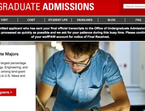 NCSU Undergraduate Admissions Website